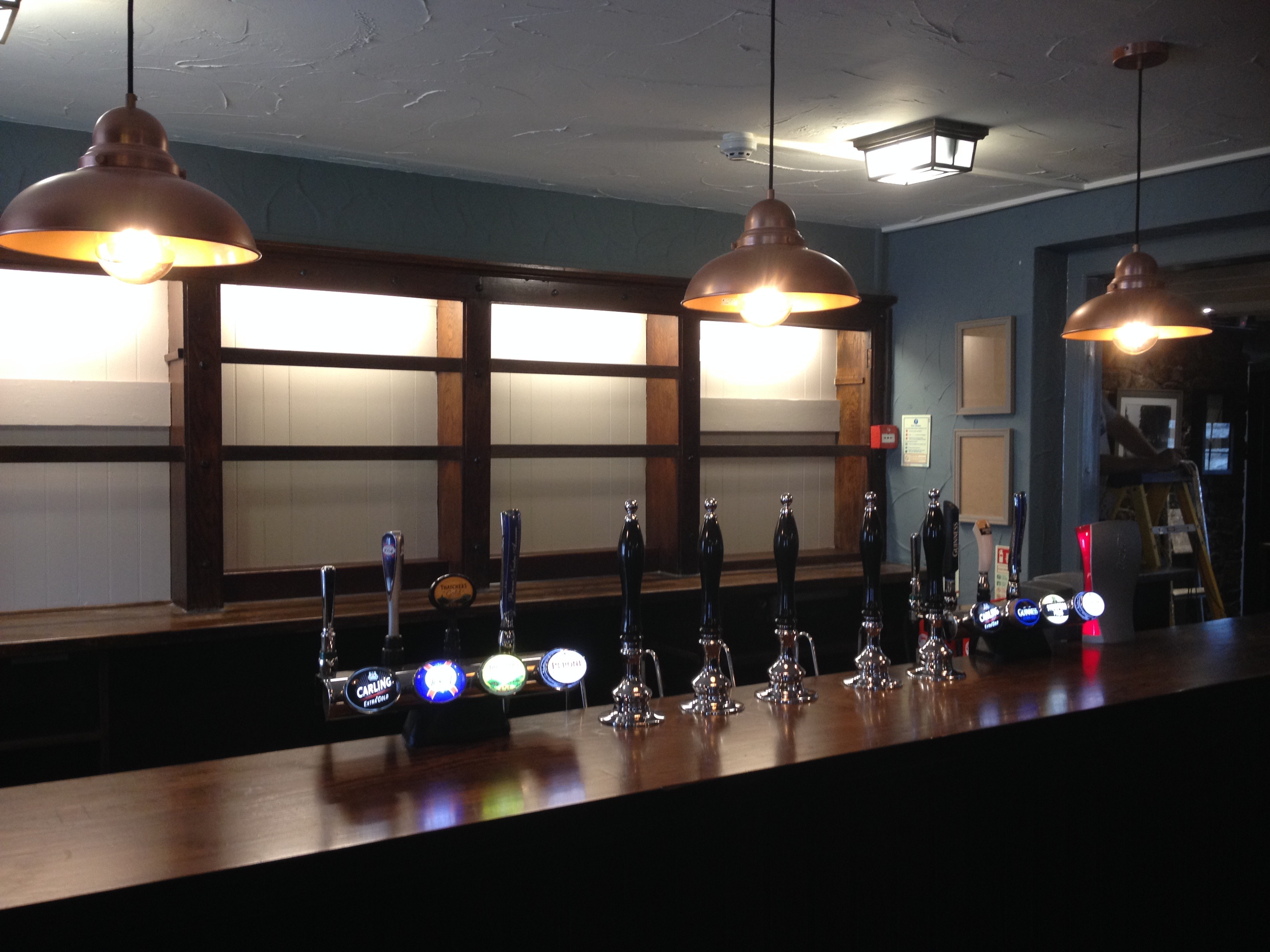 The newly painted bar